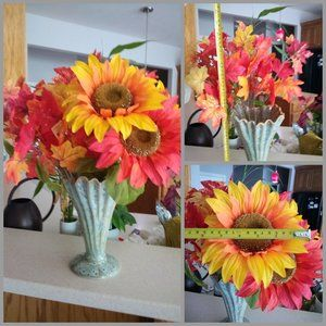 Large Red & Yellow Sunflowers w/Maple Leaf Glitter